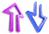 фиолетовая и синяя стрелочки