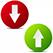 стрелки вверх вниз в бордовом и зеленом кругляшках