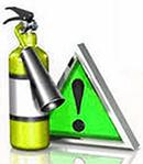 огнетушитель и предупредительный знак