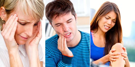 боли различной локализации: головные боли, зубная, боль в колене