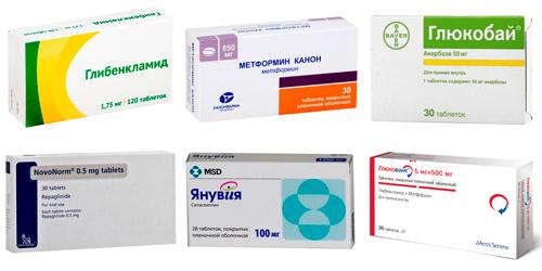 сахароснижающие препараты: Глибенкламид, Метформин, Акарбоза, Новонорм, Янувия, Гликованс