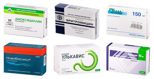 рекомендуемые препараты: Амоксициллин, Эритромицин, Рокситромицин, Новобисмол, Улькавис, Эзомепразол
