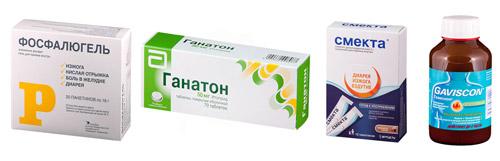 препараты для лечения рефлюкса: Фосфалюгель, Ганатон, Смекта, Гевискон