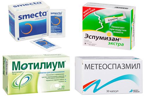 препараты от вздутия: Смекта, Эспумизан, Мотилиум, Метеоспазмил