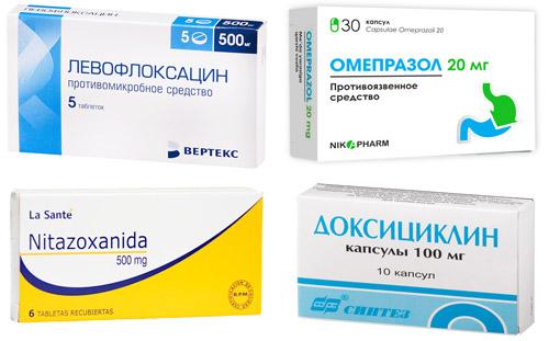 рекомендуемые препараты: Левофлоксацин, Омепразол, Нитазоксанид, Доксициклин.