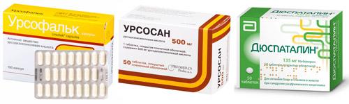 Примеры препаратов: Урсофальк, Урсосан, Дюспаталин