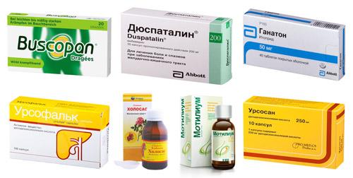 лечебные препараты: Бускопан, Дуспаталин, Ганатон, Урсофальк, Аллохол, Мотилиум, Урсосан