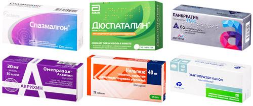 рекомендуемые препараты: спазмолгон, Дюспаталин, Панкреатин, Омепразол, Нольпаза, Пантопразол