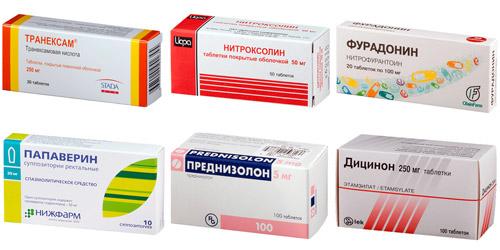 рекомендуемые препараты: Транексам, Нитроксолин, Фурадонин, Папаверин, Преднизолон, Дицинон