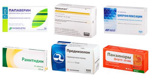 рекомендуемые препараты: Папаверин, Церукал, Ципрофлоксацин, Ранитидин, Преднизолон, Панзинорм
