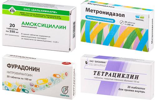 рекомендованные лекарства: Амоксициллин, Метронидазол, Фурадонин, Тетрациклин