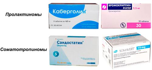 рекомендуемые лекарства: Каберголин, Бромокриптин, Сандостатин, Сомаверт (Пегвисомант)