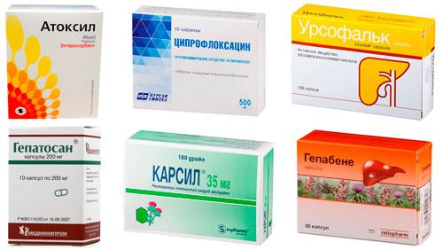 препараты для печени и выведения токсинов: Атоксил, Ципрофлоксацин, Урсофальк, Гепатосан, Карсил, Гепабене