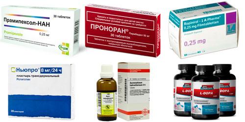 рекомендуемые препараты при болезни Паркинсона: Прамипексол, Пирибедил, Ропинирол, Ротиготин, Апоморфин, L-допа
