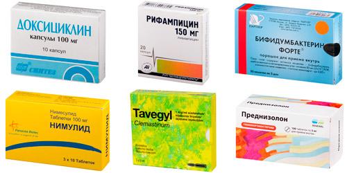 антибактериальные и патогенетические средства: Доксициклин, Рифампицин, Бифидумбактерин, Нимесулид, Тавегил, Преднизолон