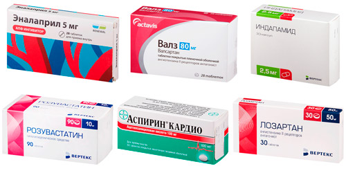 рекомендуемые лекарства: Эналаприл, Валсартан, Индапамид, Розувастатин, Аспирин кардио, Лозартан