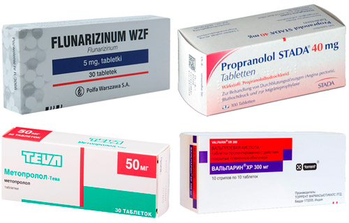 таблетки для профилактики мигрени: Метопролол, Пропранолол, Флунаризин, Вальпроевая кислота