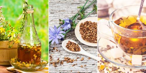 средства народной медицины: настой зверобоя, цикорий, чай из череды