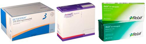 препараты бета-интерфероны: Бетаферон, Авонекс, Ребиф