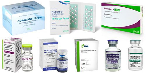 препараты для лечения рассеяного склероза: Копаксон, Терифлуномид, Диметилфумарат, Алемтузумаб, Митоксантрон, Финголимод, Кладрибин и Лейковир