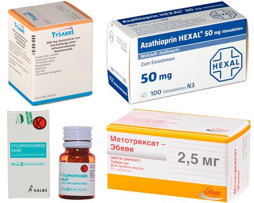 рекомендуемые препараты: Натализумаб, Азатиоприн, Циклофосфамид и Метотрексат