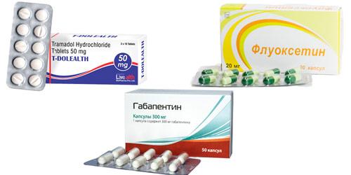 лекарства для устранения болей: Трамадол, Габапентин, Флуоксетин