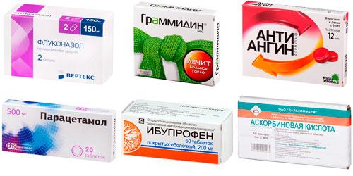рекомендуемые препараты: Флуконазол, Граммидин нео, Антиангин, Парацетамол, Ибупрофен, аскорбиновая кислота