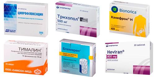 рекомендуемые препараты: Ципрофлоксацин, Трихопол, Канефрон, Тималин,, Блемарен, Гевиран,