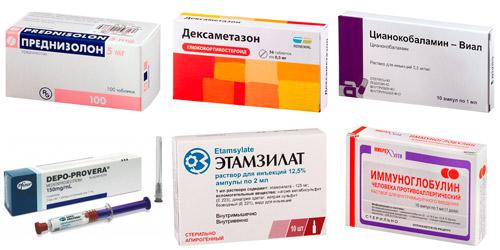 препараты, влияющие на тромбоциты в крови: Преднизолон, Дексаметазон, Цианокобаламин, Депо-Провера, Этамзилат, Иммуноглобулин
