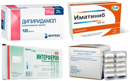 препараты против тромбоцитоза: Дипиридамол, Иматиниб, Инферон, Гидроксимочевина