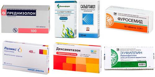 лекарства для неотложной помощи: Преднизолон, Сальбутамола, Фуросемид, Лазикс, Дексаметазон, Эуфиллин