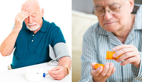 пожилой мужчиназамеряет артериальное давление и принимает лекарства