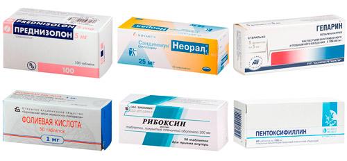 рекомендуемые лекарства: Преднизолон, Циклоспорин А , Гепарин, Фолиевая кислота, Рибоксин, Пентоксифиллин
