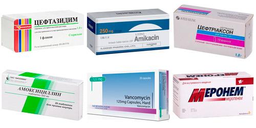 рекомендуемые антибиотики: Цефтазидим, Амикацин, Цефтриаксон, Амоксициллин, Ванкомицин, Меронем