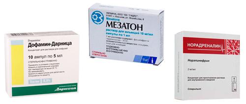 препараты для коррекции давления: Допамин, Норадреналин, Мезатон