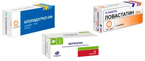 препараты для профилактики: Клопидогрель, Варфарин, Ловасатин