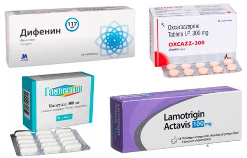 рекомендуемые медикаменты: Карбамазепин, Фенитоин, Окскарбазепин, Габапентин, Ламотриджин