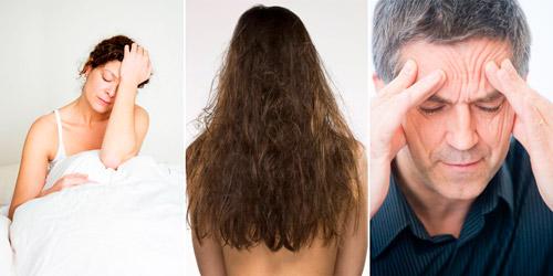 проявления дефицита гемоглобина: бессонница, проблемы с волосами, головные боли