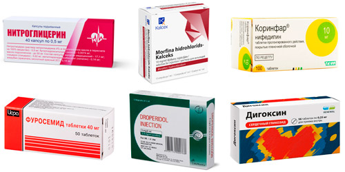 препараты для лечения: Нитроглицерин, Раствор морфина, Коринфар, Фуросемид, Дроперидол, Дигоксин