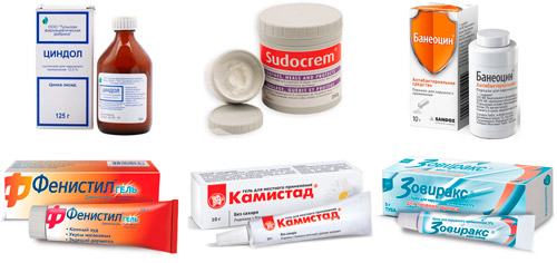 обработка кожи при ветрянке: Циндол, Судокрем, Банеоцин, Фенистил, Камистад, Зовиракс