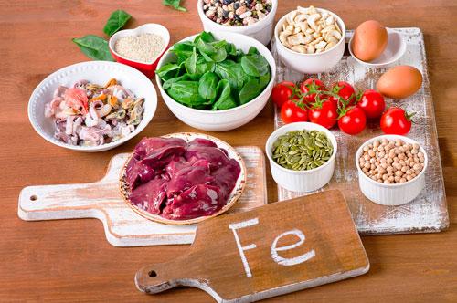продукты с большим содержанием железа