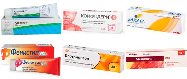 препараты для местного лечения дерматита: Адвантан, Комфодерм, Элидел, Фенистилгель, Клотримазол, Меновазин