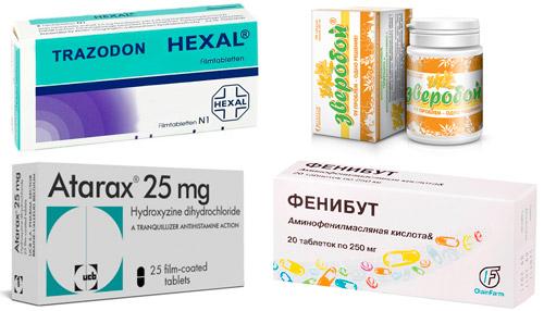 рекомендуемые препараты: Тразодон, Зверобой, Атаракс, Фенибут