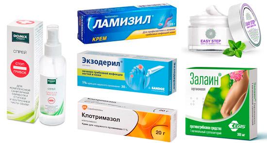 рекомендуемые препараты от грибка: Стоп Грибок Domixgreen, Ламизил, Easy Step, Экзодерил, Клотримазол, Залаин