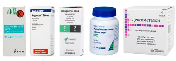 препараты для консервативного лечения ангиомы: Циклофосфамид, Эндоксан, Винкристин, Метилпреднизолон, Дексаметазон