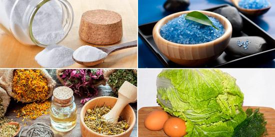 народные средства от экземы: сода, морская соль, травы и капуста