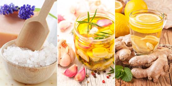 средства народной медицины: морская соль, чесночное масло, имбирный чай