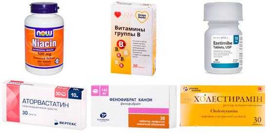 лекарства для снижения холестерина: Аторвастатин, Фенофибрат, Холестирамин, Ниацин, витамины B, Эзетимиб