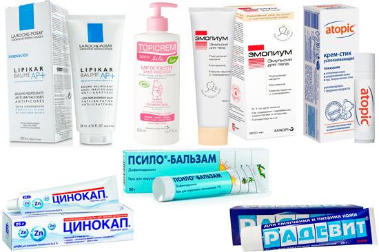 эмоленты и наружные препараты от дерматита: Липикар, Топикрем, Циндол и др.