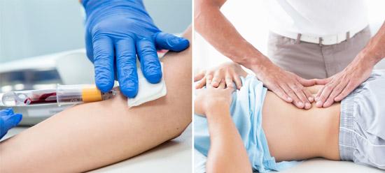 методы диагностики: анализ крови и пальпация печени